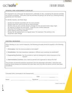 General Risk Assessment Checklist - Actsafe Safety Association