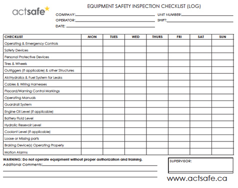 Equipment Safety Inspection Log - Checklist - Actsafe Safety
