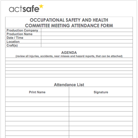 occupational joint health safety committee meeting attendance form